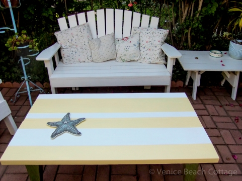 4 Yellow striped table for patio